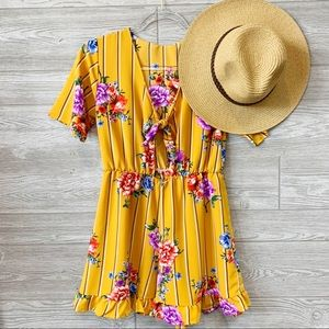 Mustard pin stripe and floral print romper
